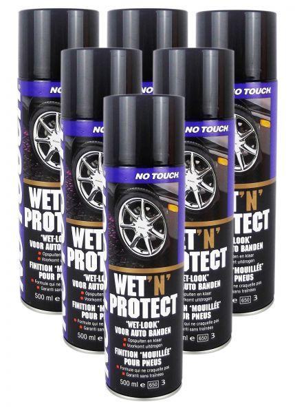 6x NO TOUCH Wet 'n' Protect Reifenglanz Reifenpflege Reifenschaum 500 ml