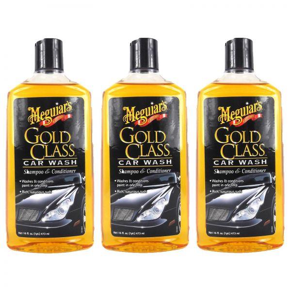 3x MEGUIAR'S MEGUIARS Gold Class Shampoo Autoshampoo Autopflege 473 ml