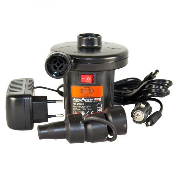 HEYNER Elektrische Premium Camping Luftpumpe Pumpe 12V & 230V inkl. 3 Adapter