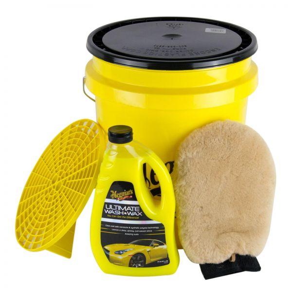 MEGUIAR'S MEGUIARS Ultimate Wash&Wax & Wascheimer + Deckel & Lammfell-Handschuh
