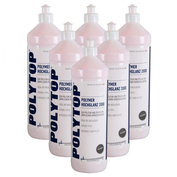 6x POLYTOP Polymer Hochglanz 2000 Politur Glanzpolitur Lackpolitur 1 L Liter