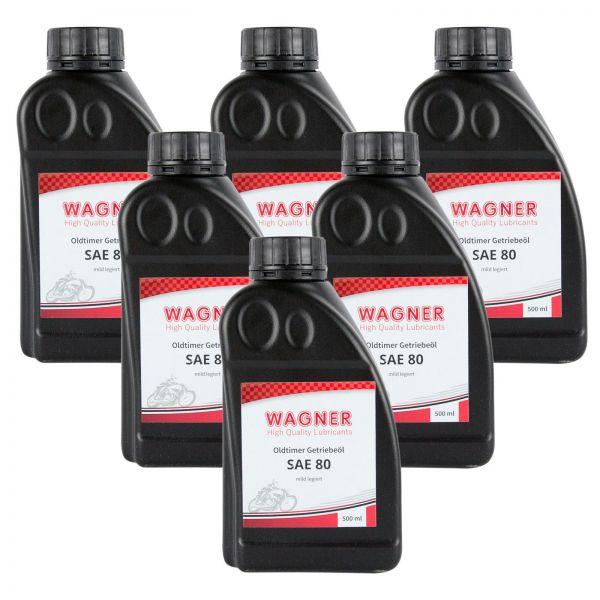 6x WAGNER SPEZIALSCHMIERSTOFFE Getriebeöl Oldtimer-Getriebeöl SAE 80 500 ml